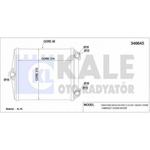 A0028356401 346645 Kale W124 Kalorifer Radyatörü Klimalı Tip 2 Delik, 346645, ORİJİNAL